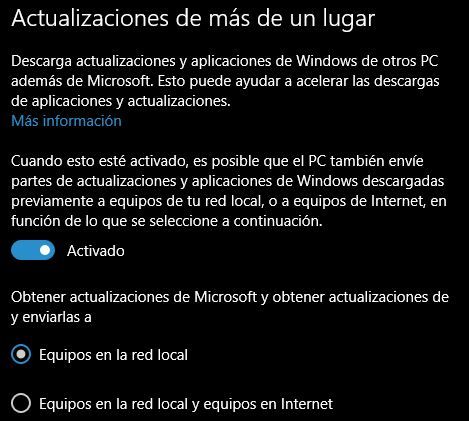 Actualizaciones p2p windows 10