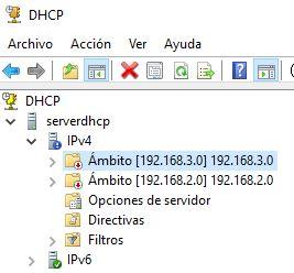 Ambitos DHCP Windows Server 2016