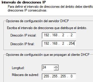 Rango Direcciones IP DCHP Windows Server 2016