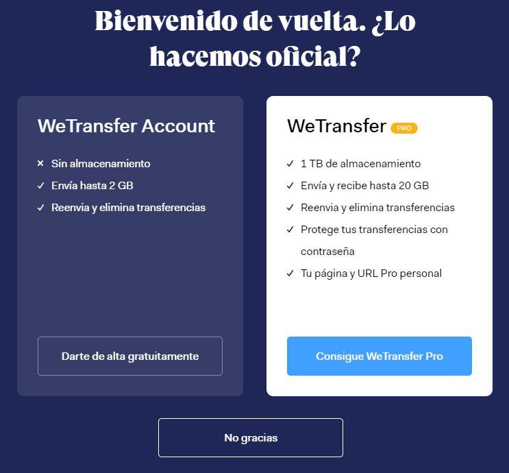 como usar wetransfer gratis en español