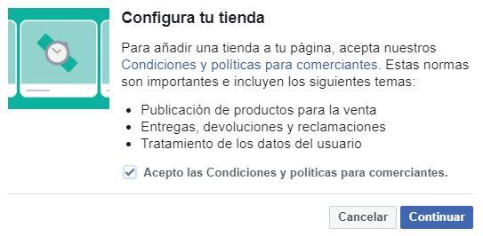 configurar tienda facebook