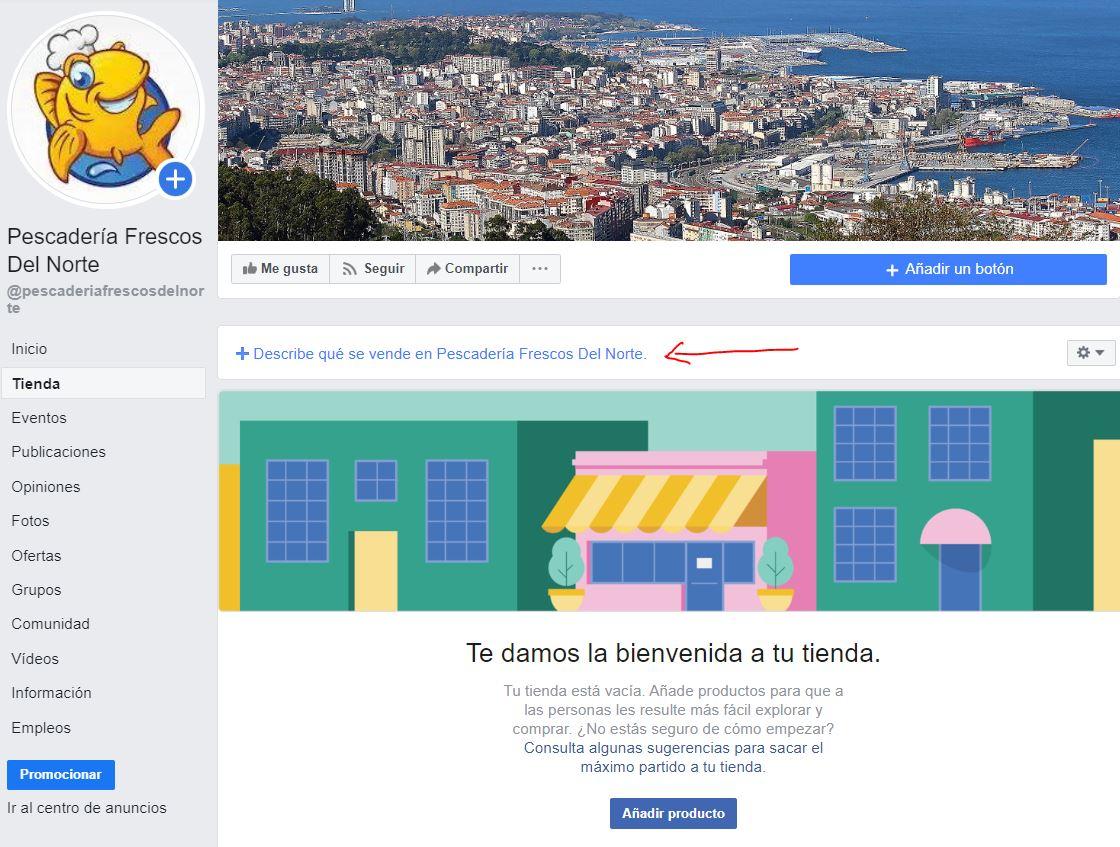 descripción tienda de Facebook